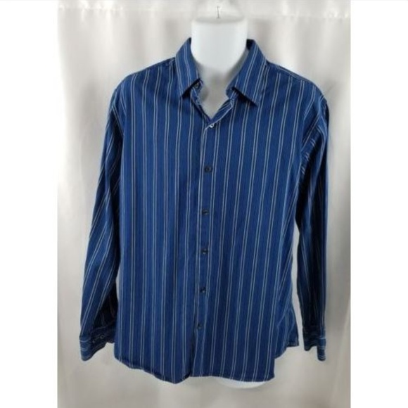 3d2c70699f jf j.ferrar Shirts | J Ferrar Ls Blue Striped Mens Shirt Size Xl ...